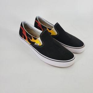 Vans Slip-On Flame Black & White Skate Shoes
